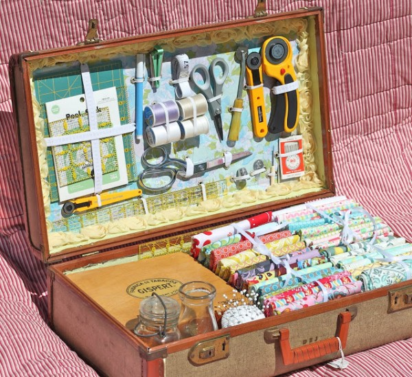 sewing storage in suitcase