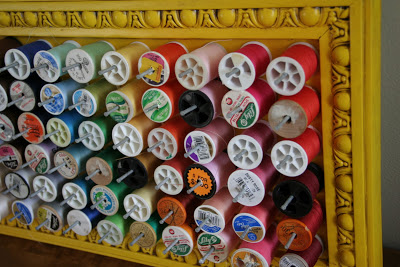 spools in a frame