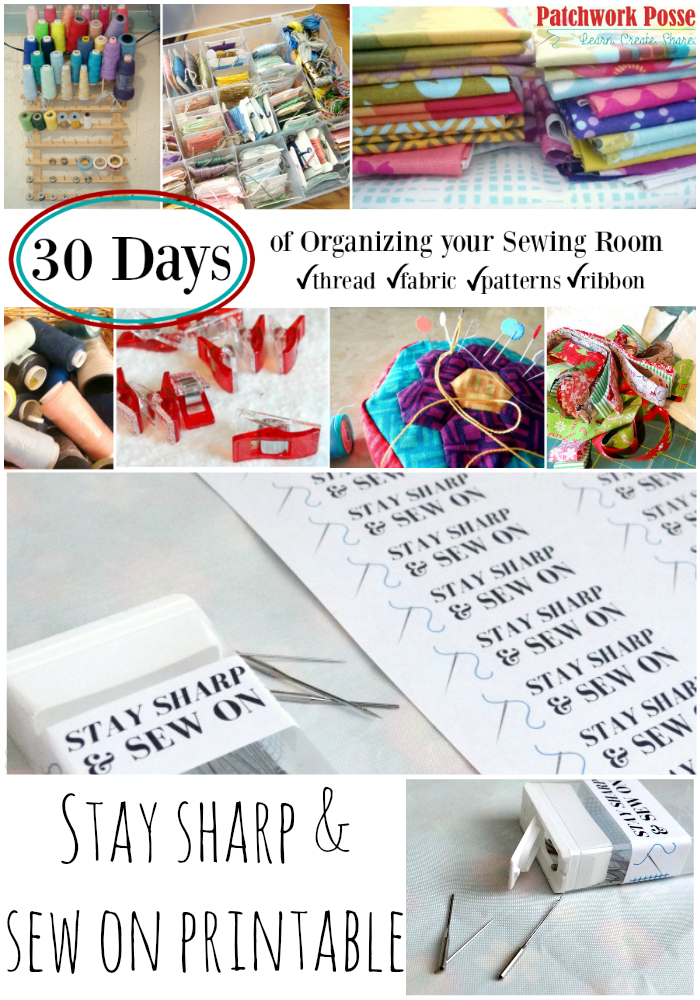 stay sharp and sew on printable 30 days of craft room organizing