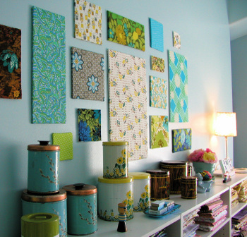 fabric wall art sewing room