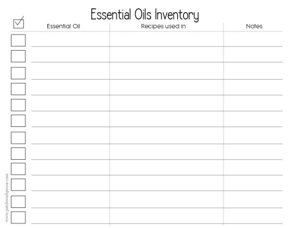 Essential Oil List Blank Printable