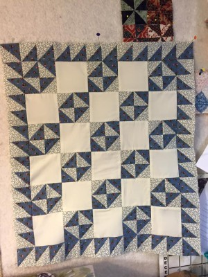 blue broken dishes doll quilt