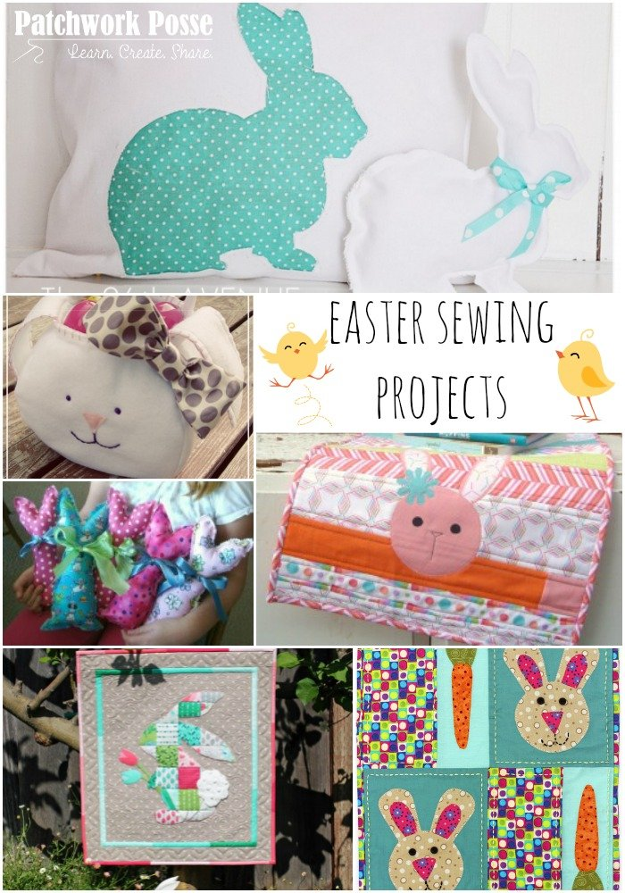 Easter sewing projects for your home. Add some fun Spring colors! The list has easter bags, table runners, pillows, wallhangings and printable applique templates