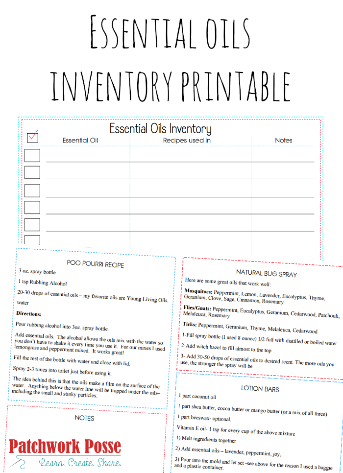 essential oils list printable - keep track of what you have and what you need, plus a few recipes included!