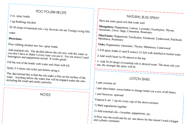 essential oils recipes list printable with three of my favorite recipes. the natural bug spray, poo pourri and lotion bars recipes.