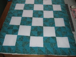 teal broken dishes doll quilt