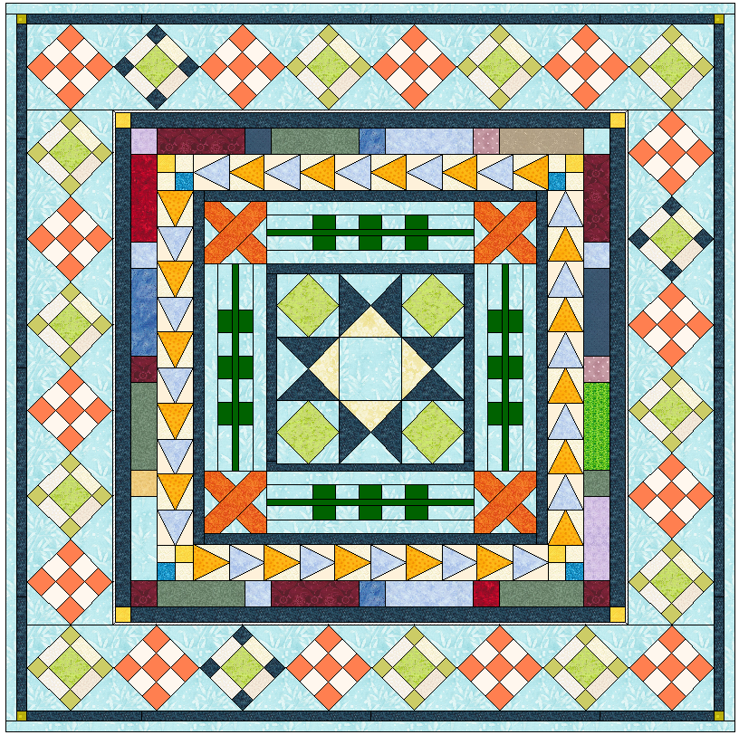 eq7 medallion quilt along busy body