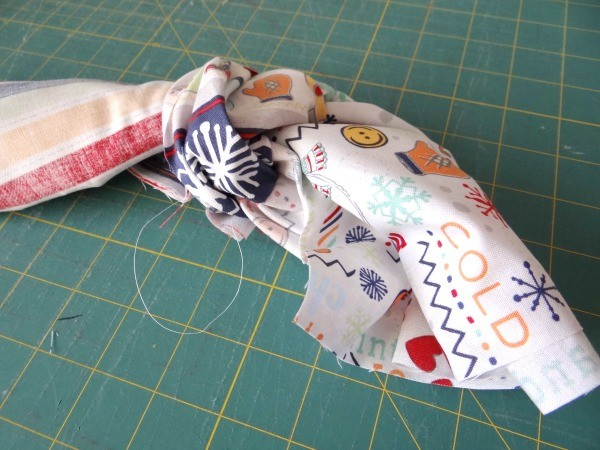 stitch along the edge and turn right sides out