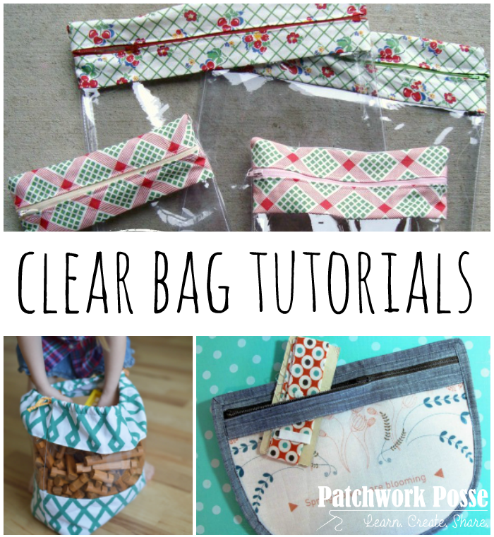 bag tutorials using clear vinyl - over 20 different designs and ideas. Great for keeping your notions and sewing kits together!