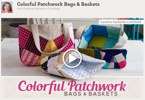 colorful patchwork bags and basket