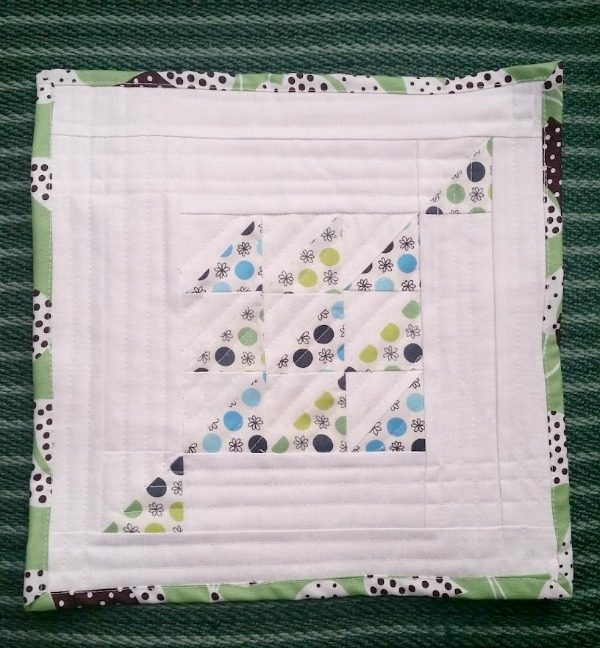 mini modern half square quilt 1