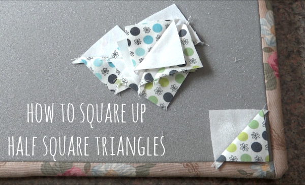 learn how to square up half square triangles - video too!