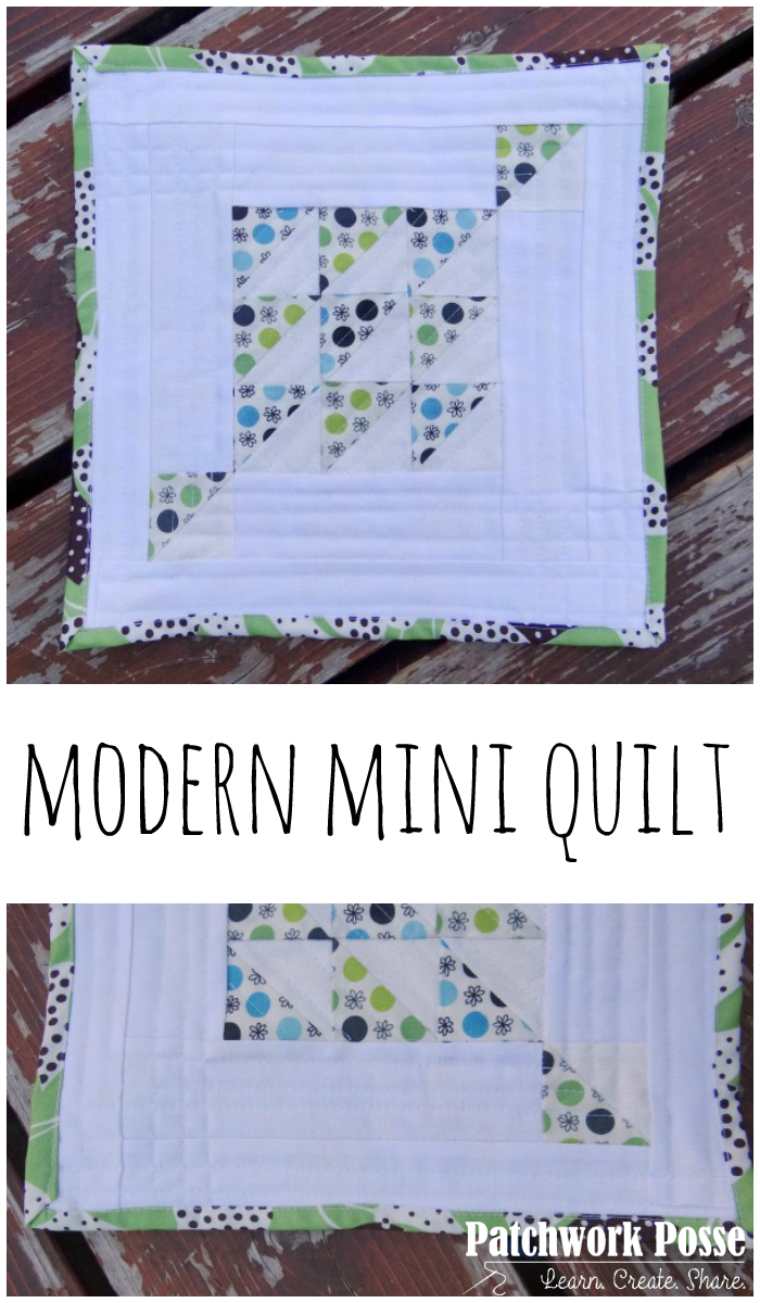 modern mini quilt tutorial with half square triangles