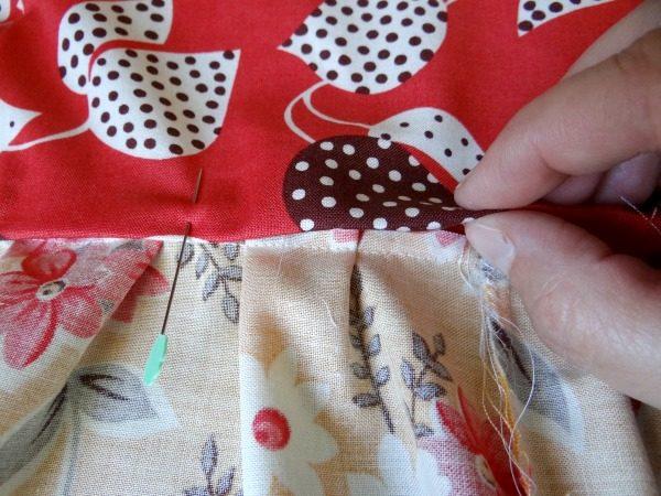 pin just past stitching