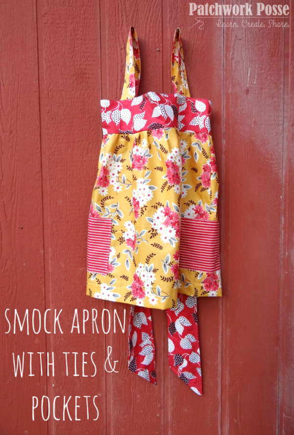 smock apron with ties and pockets