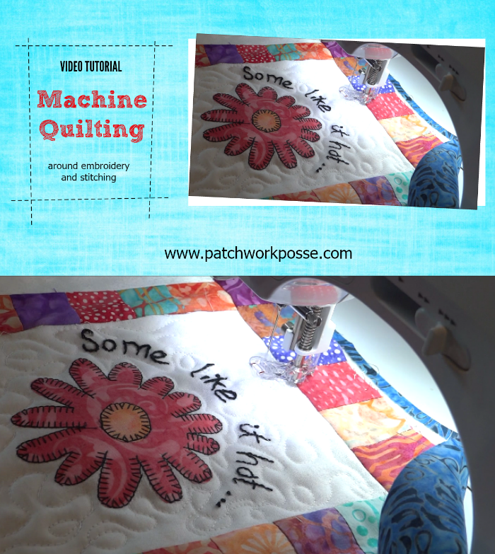 machine quilting around embroidery and stitching video