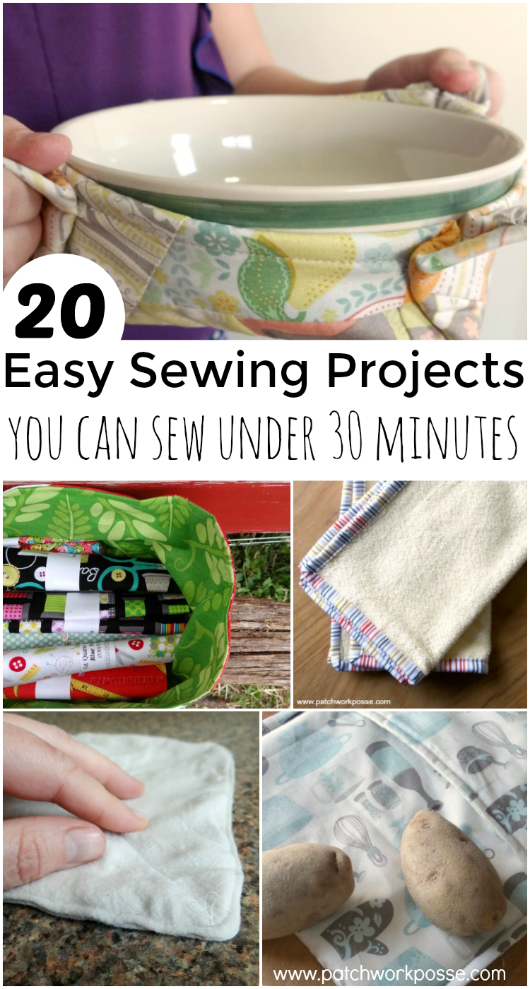 30 minute easy sewing projects- great list and they are quick to make! I need the potato cooker!
