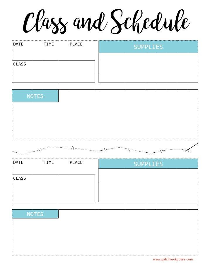 printable school schedules