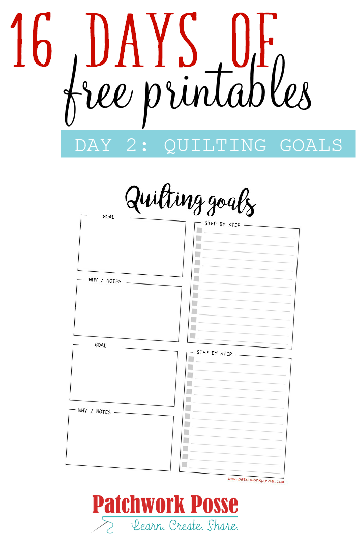 Day 2: Quilting Goals Printable