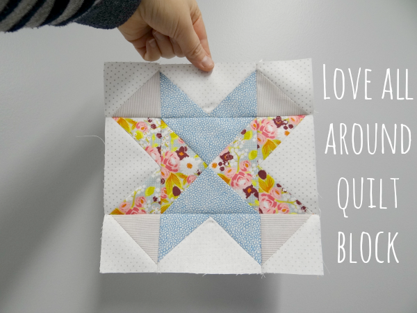 love all around quilt block with lee one block for each kindness