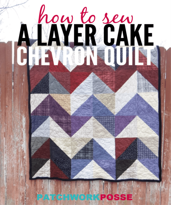 This layer cake quilt is a chevron style.Using two fabrics the same size and making them into half square triangles, you end up with a whole lap sized quilt.