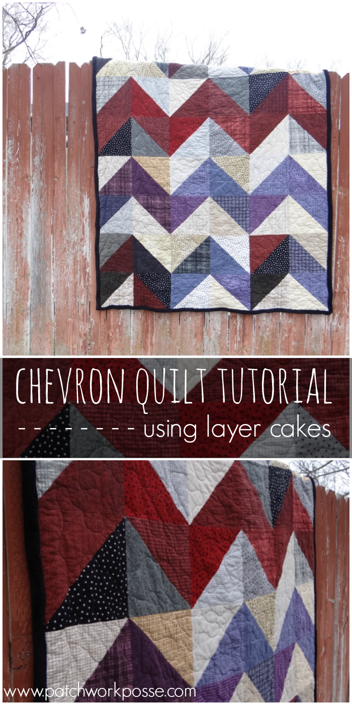 Learn how to sew up a chevron quilt using two fabrics the same size.  Love how this turned out and would be great for those layer cakes I have sitting around!