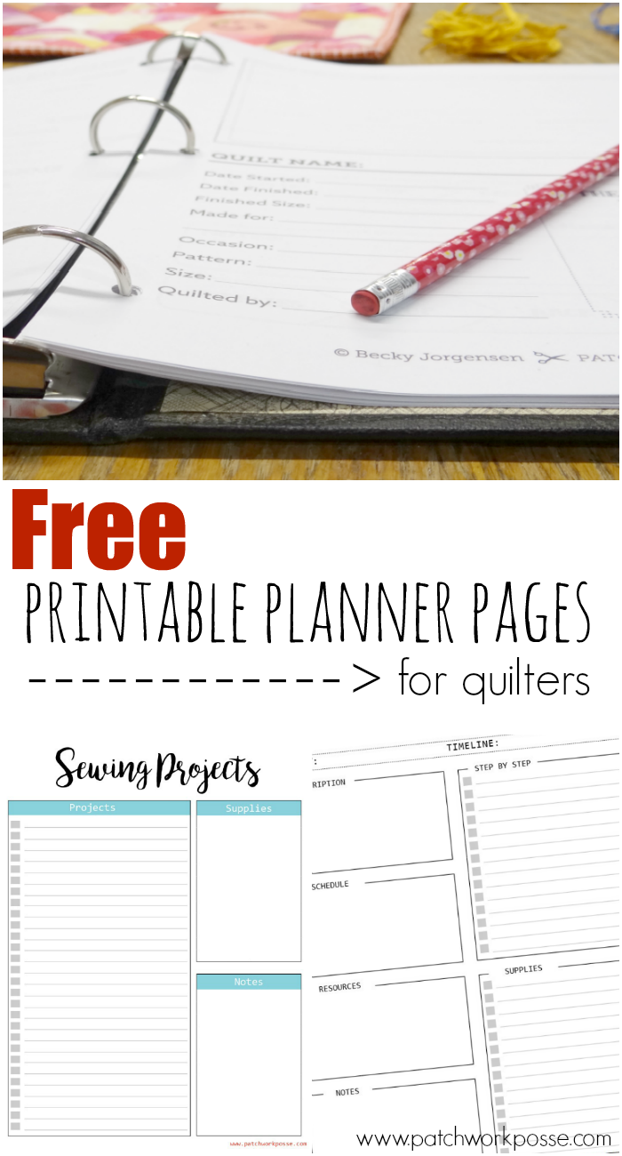 the best printable planner pages for quilters - these are great and so different! love the pack of 16 ready to go too!