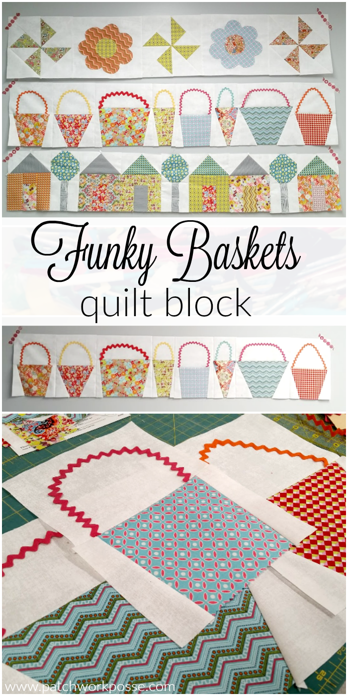 This funky basket quilt block for the row by row is so cute! Love the ric rac handles and fun shapes!!!