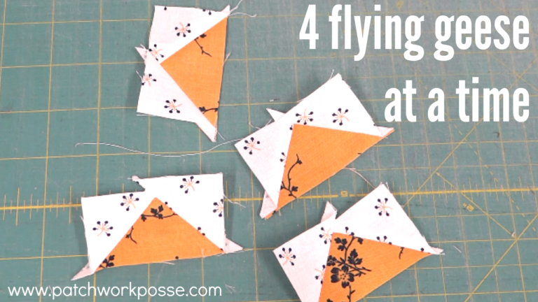 how to sew 4 flying geese at one time. included are the instructions for figuring out the size of fabric you need. so handy!