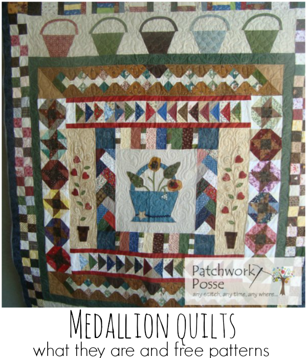 free quilt patterns in the medallion style.  the basket quilt is my favorite- but the others are cute too! Happy they are free!