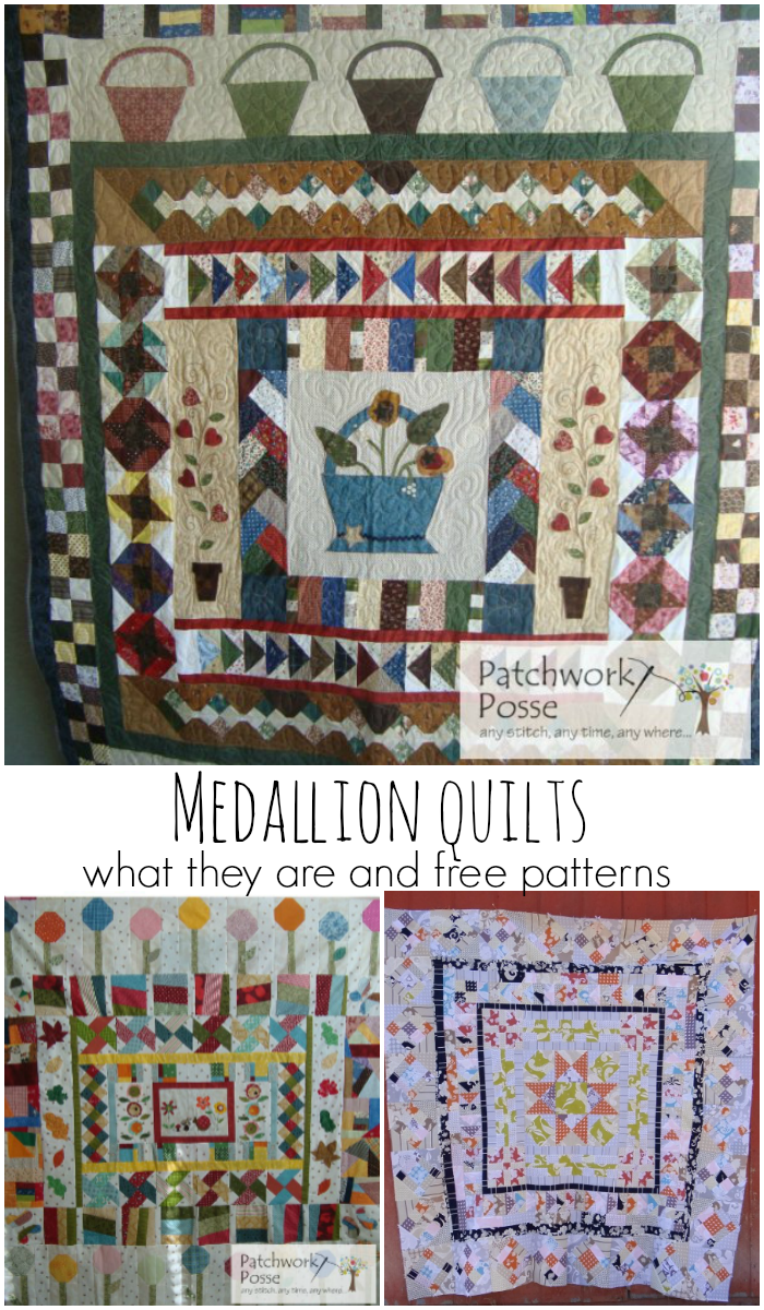 medallion quilts - what are they, plus a few free patterns you can sew in this style. Love how different they look in style!