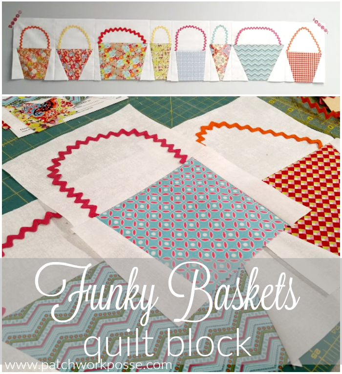 Funky Basket quilt block - so cute and I really like the ric rac handle. So simple!