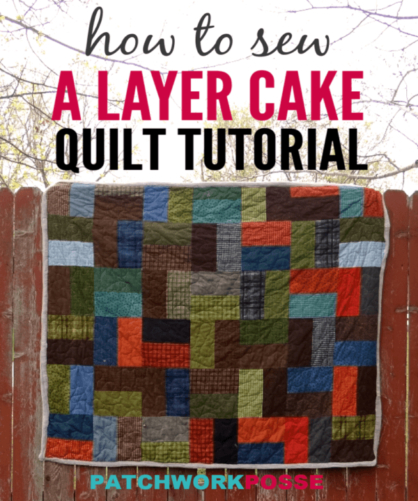 Single slice layer cake quilt tutorial -use those large fabric square, cut once and you're sewing rows! Super quick and simple. Great for beginner quilters.