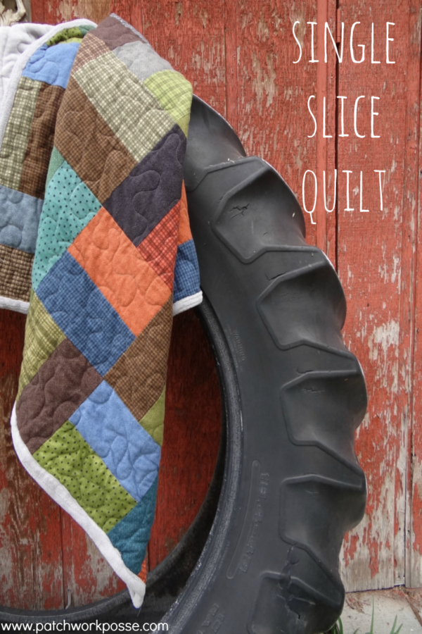 single slice quilt - uses a layer cake with one cut! Super simple. Love that it doesn't waste fabric too.