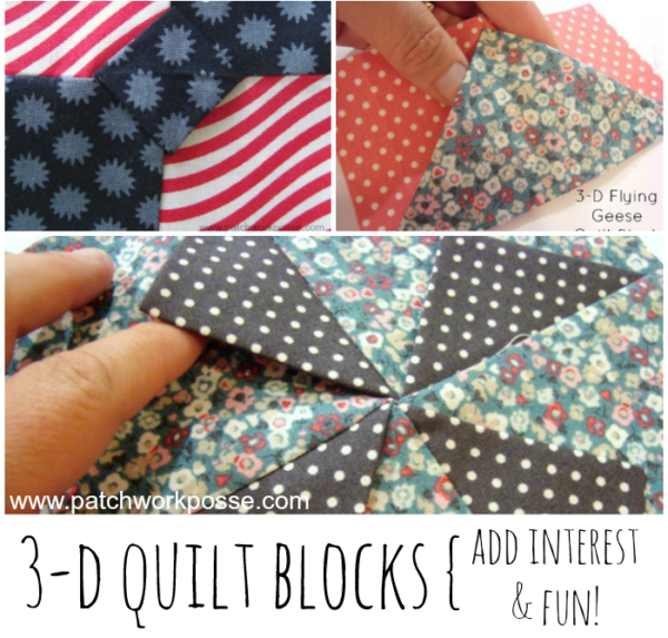 3 dimensional quilt blocks. These are so fun and would be simple to swap out in a block or two on a quilt.
