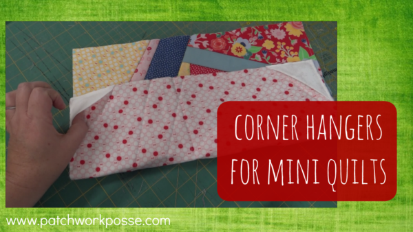 Corner hangers for mini quilts. So simple to do and these work great every time!!!