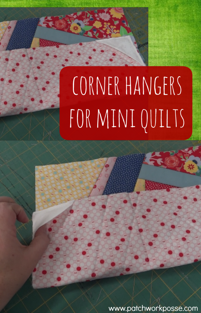 Corner hangers for mini quilts. This is so handy and such a great idea! I have a few quilts that need to be hung and this will work!