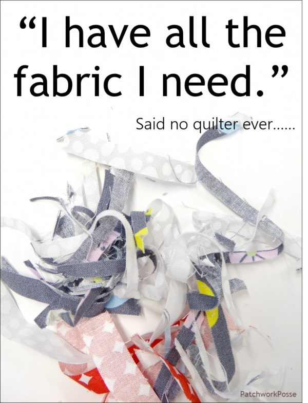 I have all the fabric I need.   Said no quilter ever.  Quilt meme