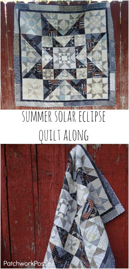 Summer solar eclipse quilt along - free to sew along! Love the dark and lights of the quilt.