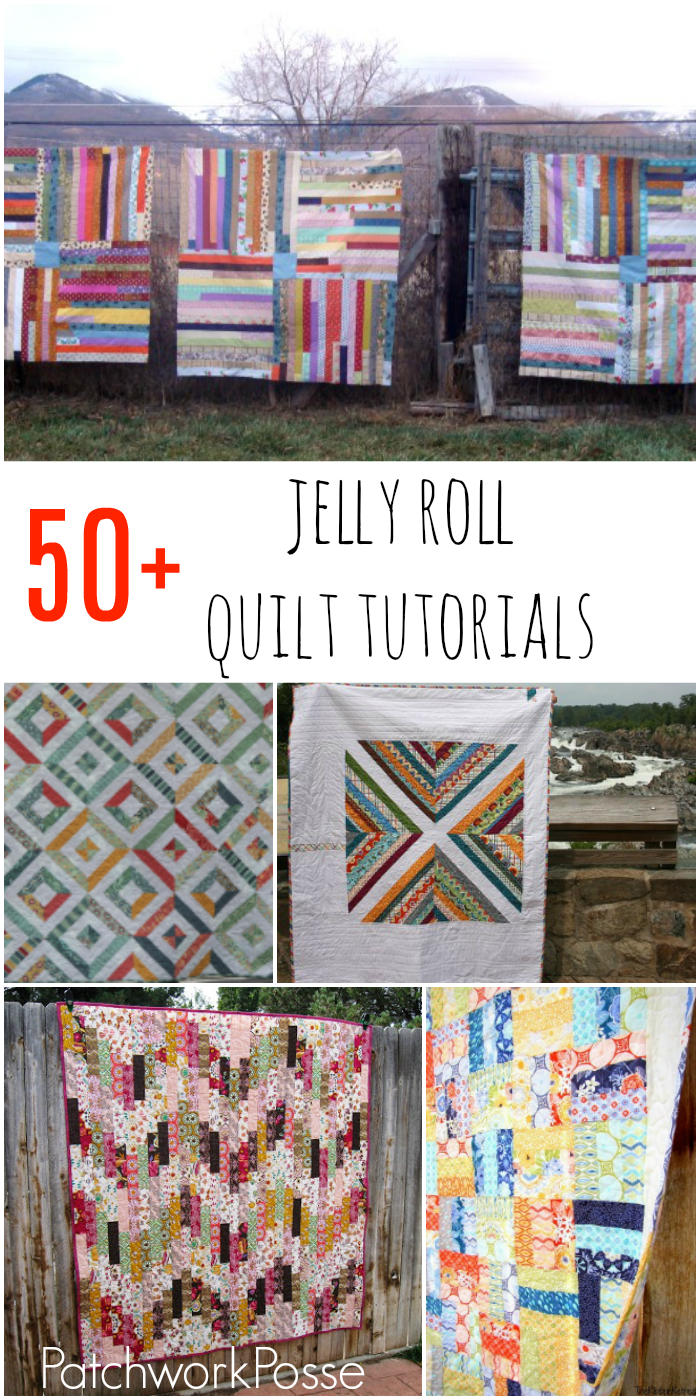 over 50 jelly roll quilt tutorials. these are so cute. I'm ready to open a jelly roll now!