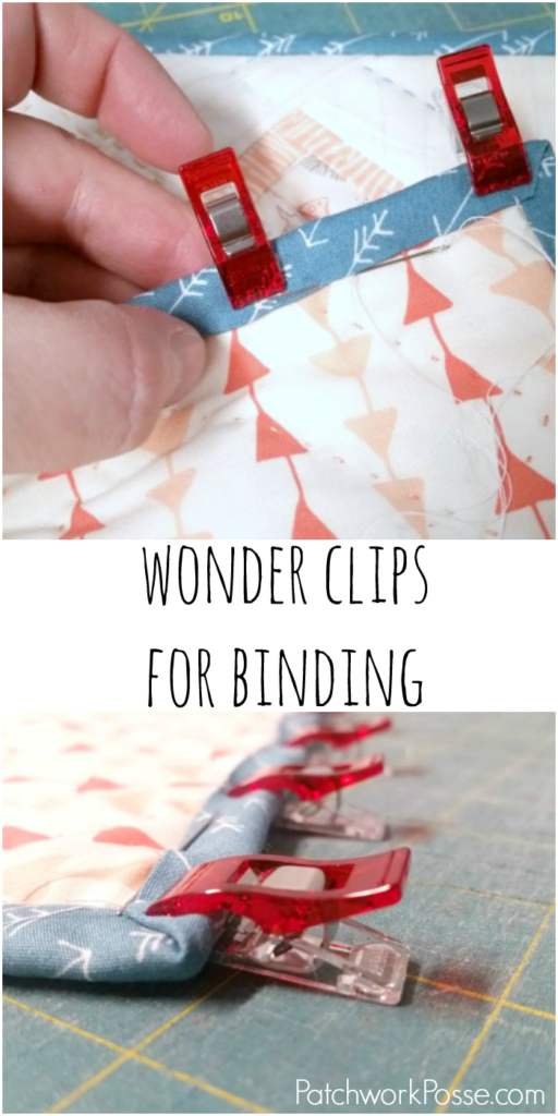 using wonder clips for binding-- there are jumbo and mini ones! not a fan of binding, but these would help