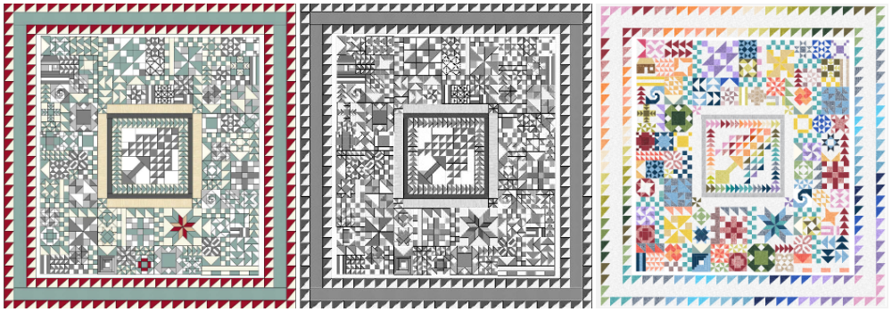 sampler of 2018. king size quilt- pattern is in the IAQ quilt group