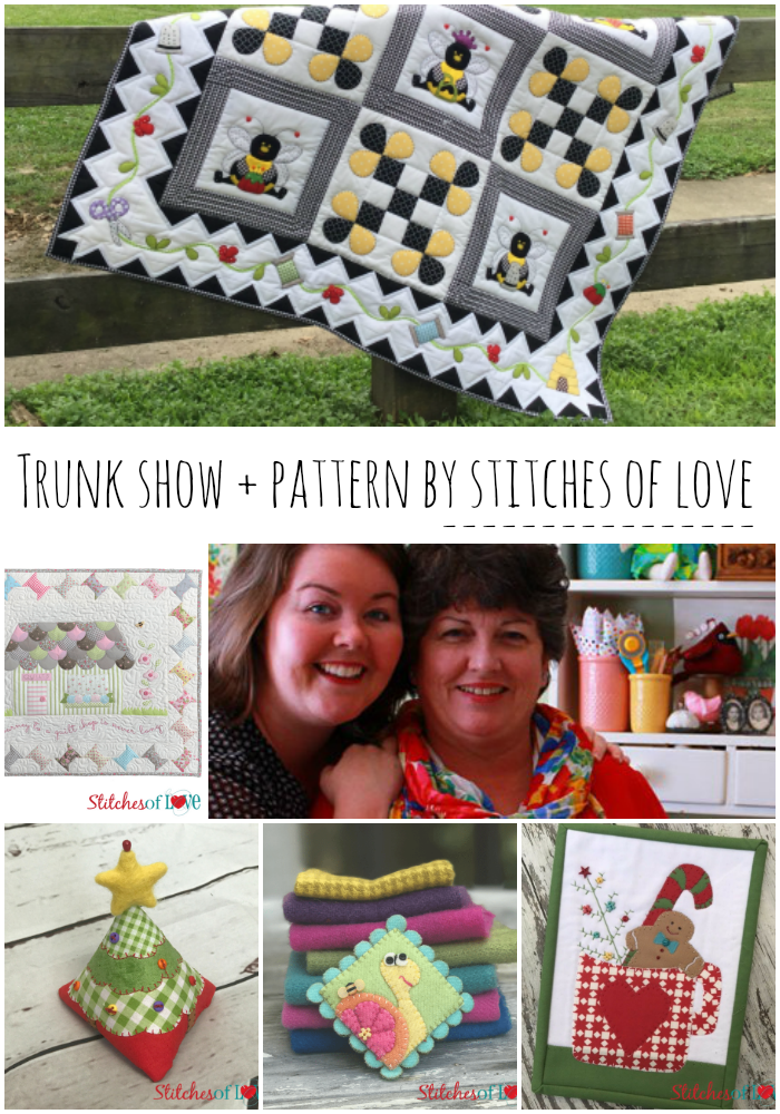trunk show and pattern by the guest designers for the IAQ quilt group - Stitches of Love. These two are so talented. Love their style and design and the calendar girls!