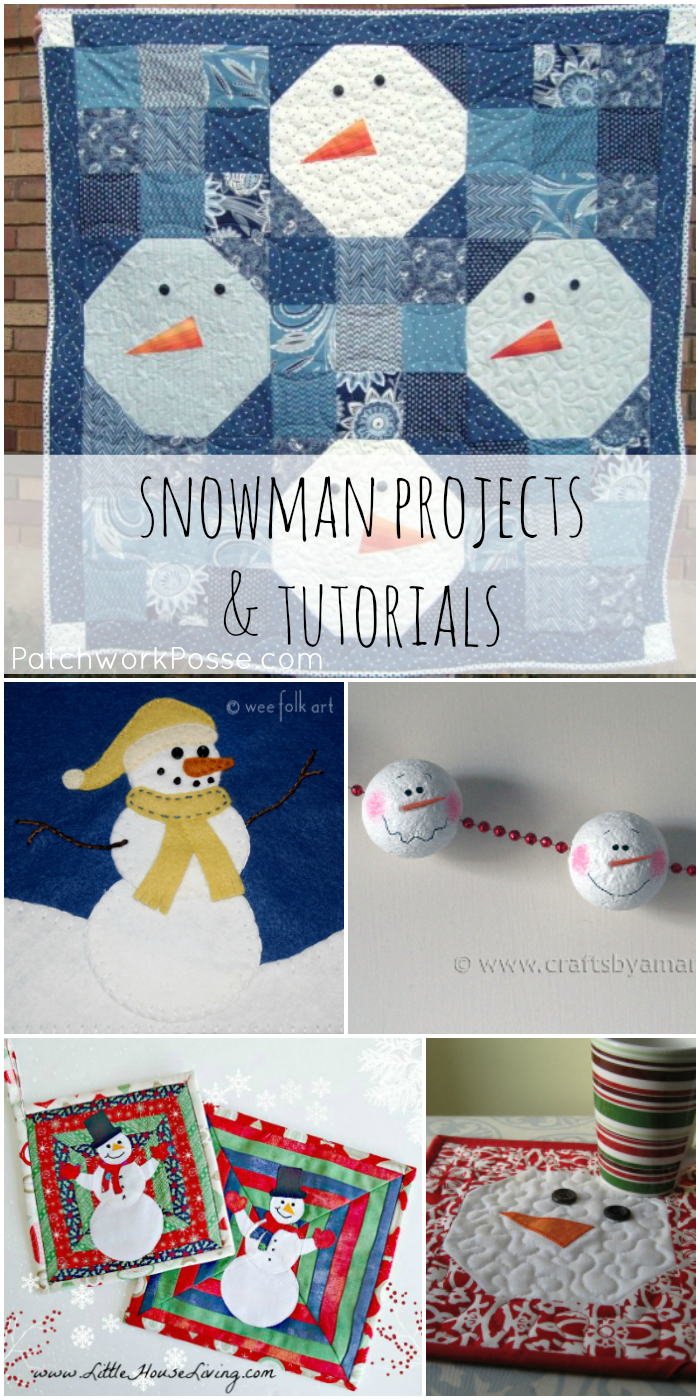 Snowman quilts and free projects! Sew up a few fun things to switch out during the winter months. Time for new projects and redecorating! The snowman quilt is my favorite-
