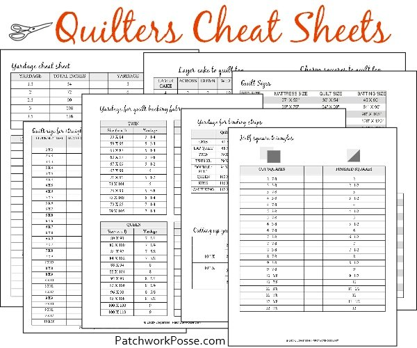Quilting Cheat Sheets – free printable pack!