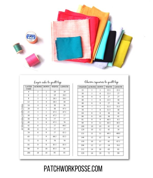 free printable for figuring out how many layer cakes or charm packs you need for a quilt top