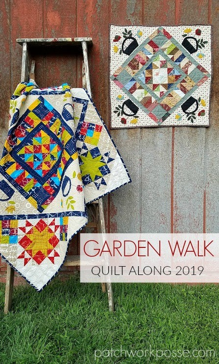 This month we are working on our Garden Walk Quilt Along with applique corners!
