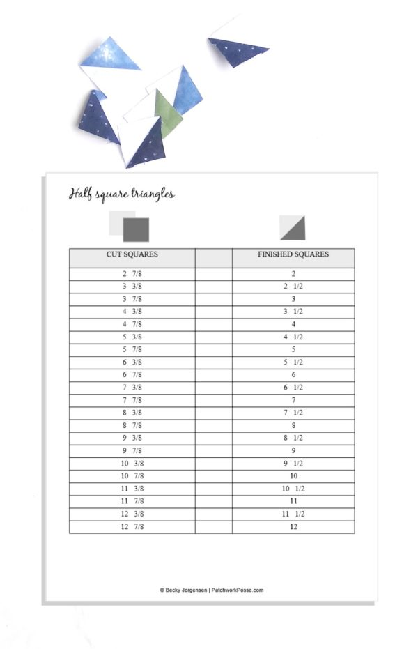 half square triangle printable by patchwork posse