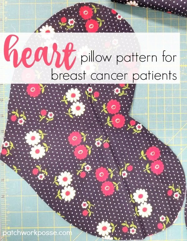 Heart Pillow Pattern for Breast Cancer Patients. It's a great sewing service project for anyone! Learn how to cut out and stitch heart pillows for donation.