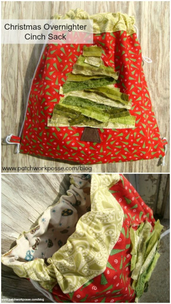 Cinch sack tutorial - learn how to make a simple cinch sack with a fun rag fabric tree on the front. The pictures will guide you from start to finish. #cinchsack #overnight #bagtutorial #freepattern
